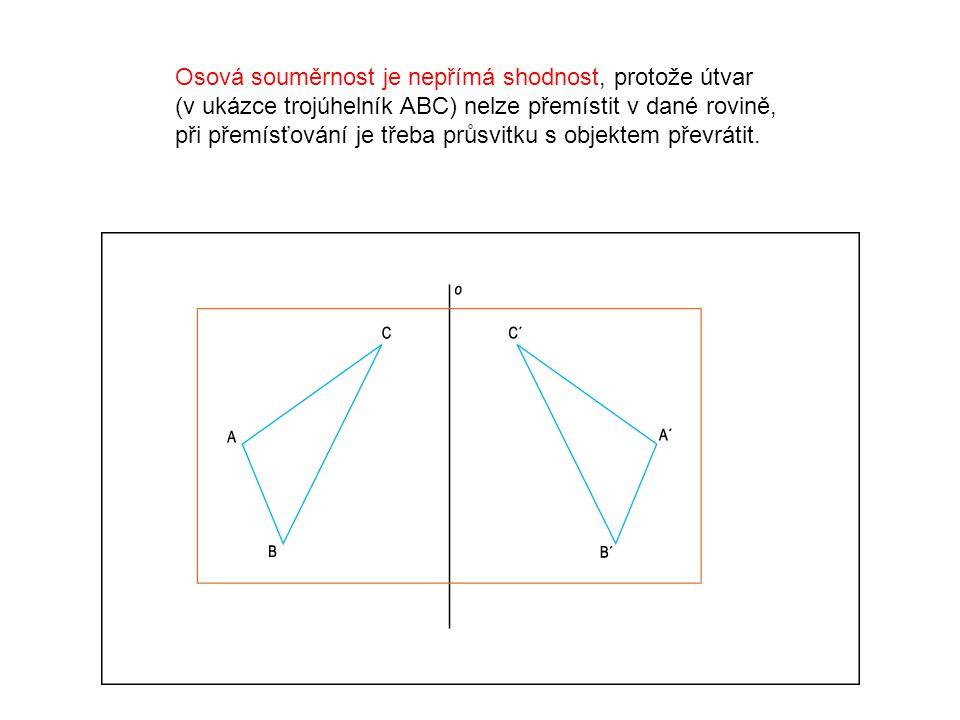 Osová souměrnost je nepřímá shodnost, protože útvar (v ukázce trojúhelník ABC) nelze přemístit v dané rovině, při přemísťování je třeba průsvitku s objektem převrátit.