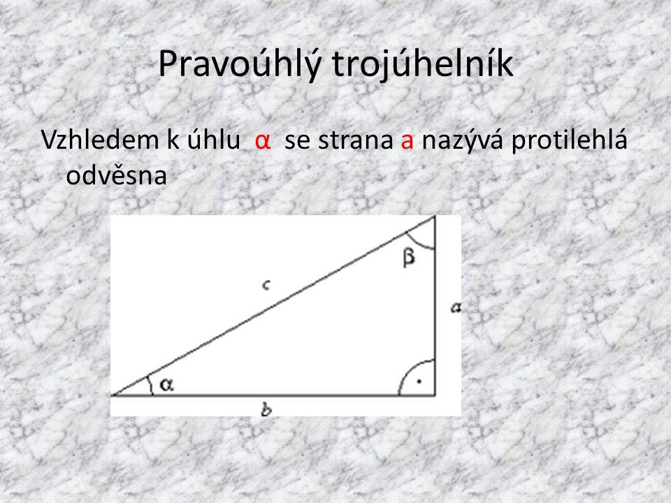 Pravoúhlý trojúhelník Vzhledem k úhlu α se strana a nazývá protilehlá odvěsna