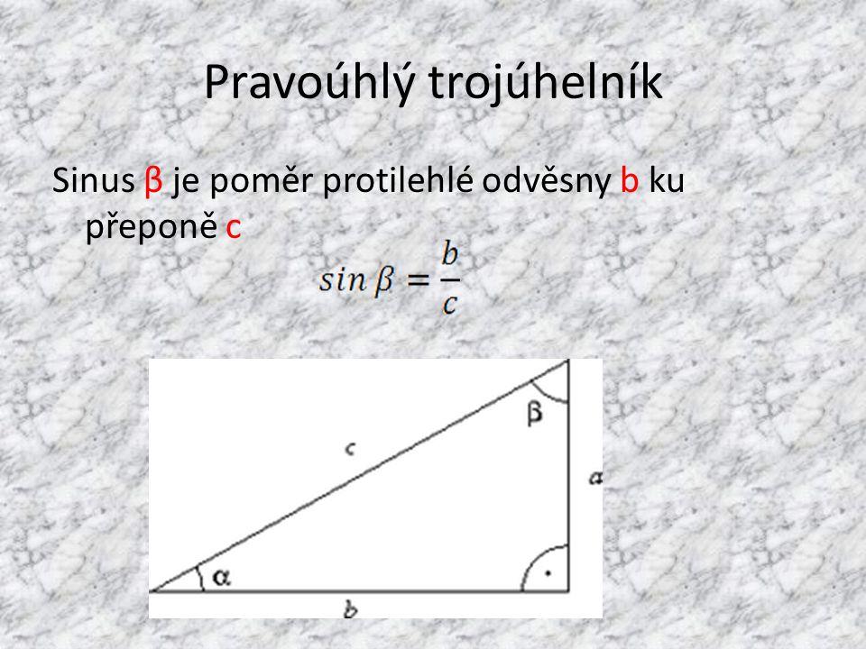 Pravoúhlý trojúhelník Sinus β je poměr protilehlé odvěsny b ku přeponě c