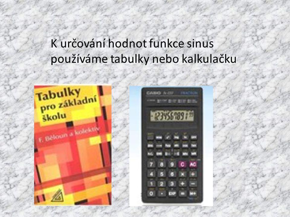 K určování hodnot funkce sinus používáme tabulky nebo kalkulačku