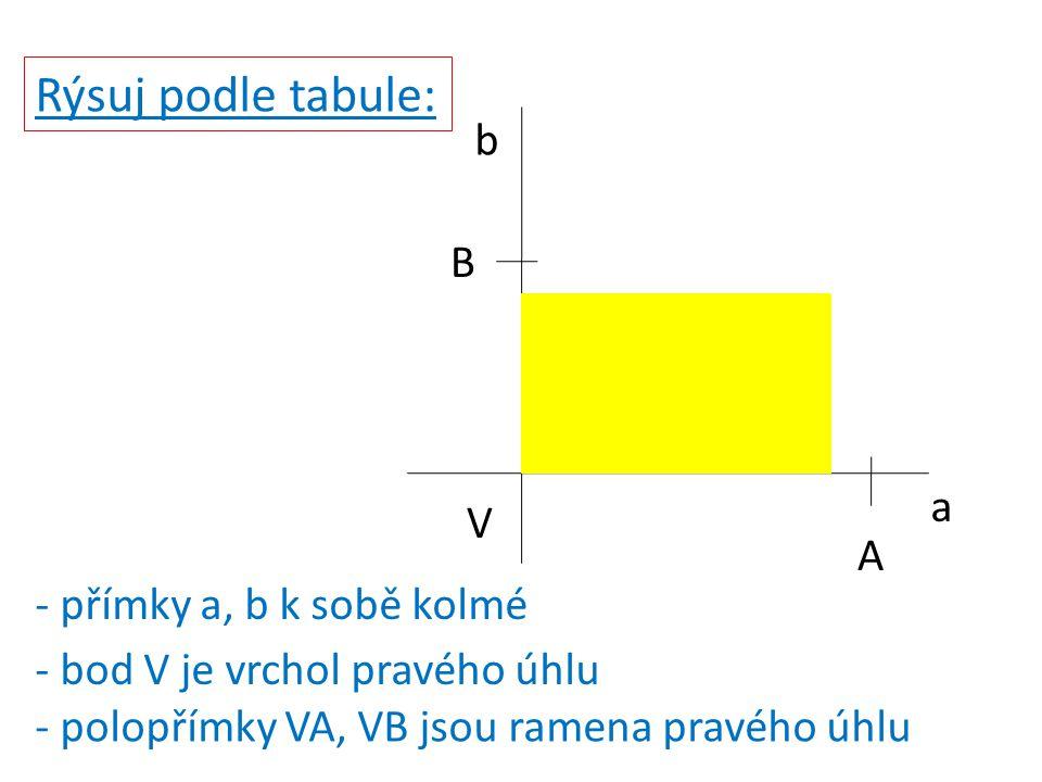 Rýsuj podle tabule: V B A a b - přímky a, b k sobě kolmé - bod V je vrchol pravého úhlu - polopřímky VA, VB jsou ramena pravého úhlu