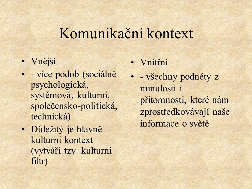 Komunikační kontext Vnější - více podob (sociálně psychologická, systémová, kulturní, společensko-politická, technická) Důležitý je hlavně kulturní kontext (vytváří tzv.
