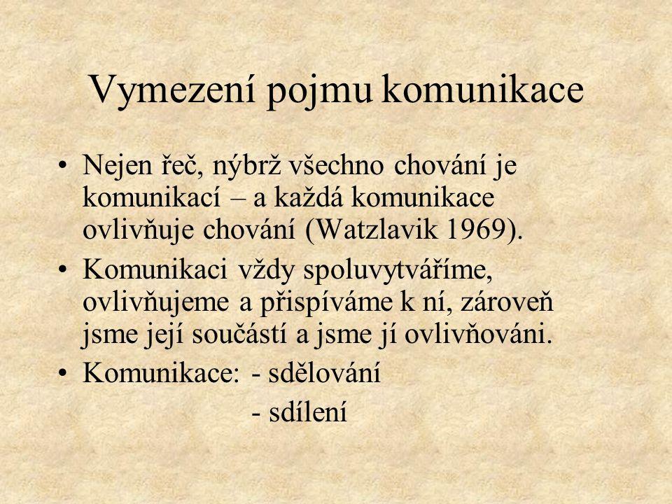 Vymezení pojmu komunikace Nejen řeč, nýbrž všechno chování je komunikací – a každá komunikace ovlivňuje chování (Watzlavik 1969).