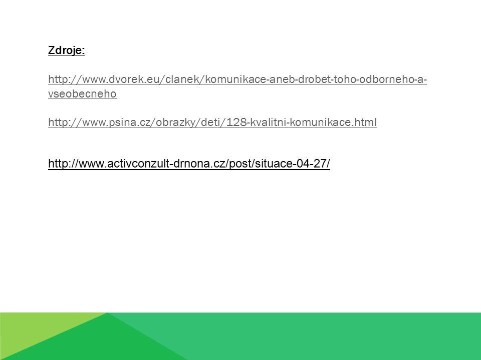 Zdroje: http://www.dvorek.eu/clanek/komunikace-aneb-drobet-toho-odborneho-a- vseobecneho http://www.psina.cz/obrazky/deti/128-kvalitni-komunikace.html http://www.activconzult-drnona.cz/post/situace-04-27/