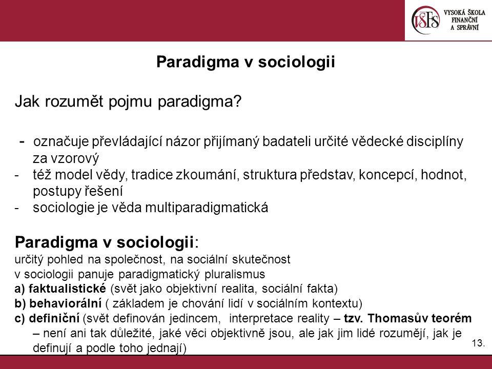 13. Paradigma v sociologii Jak rozumět pojmu paradigma.
