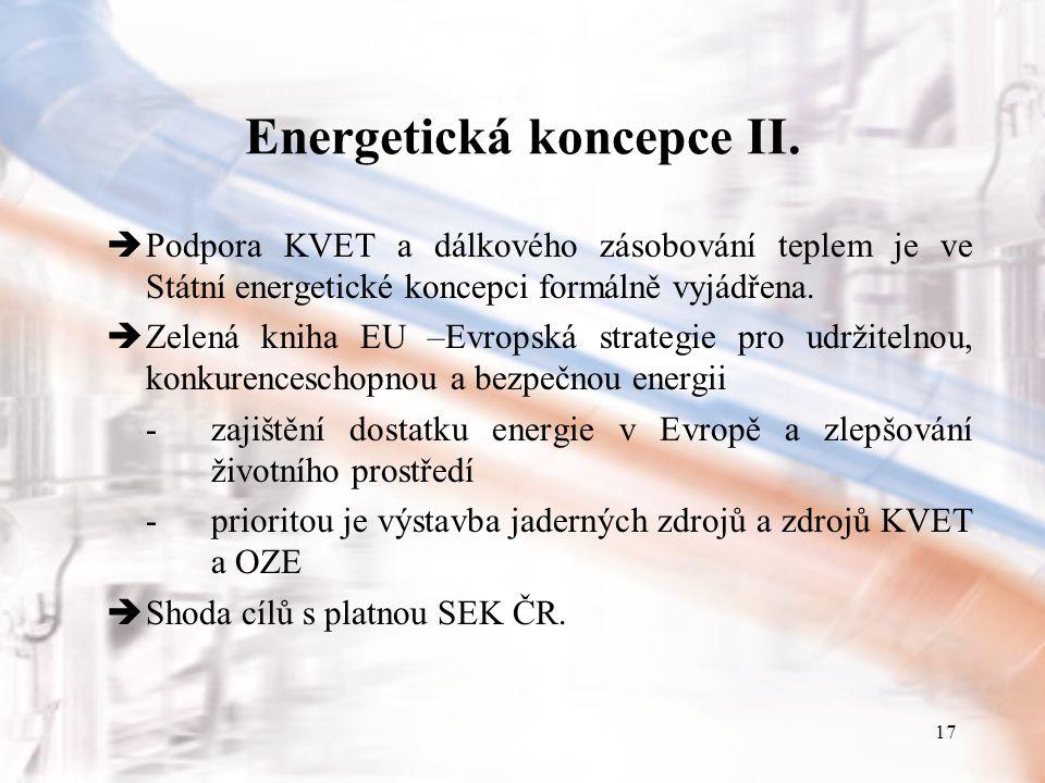 17 Energetická koncepce II.  Podpora KVET a dálkového zásobování teplem je ve Státní energetické koncepci formálně vyjádřena.  Zelená kniha EU –Evro
