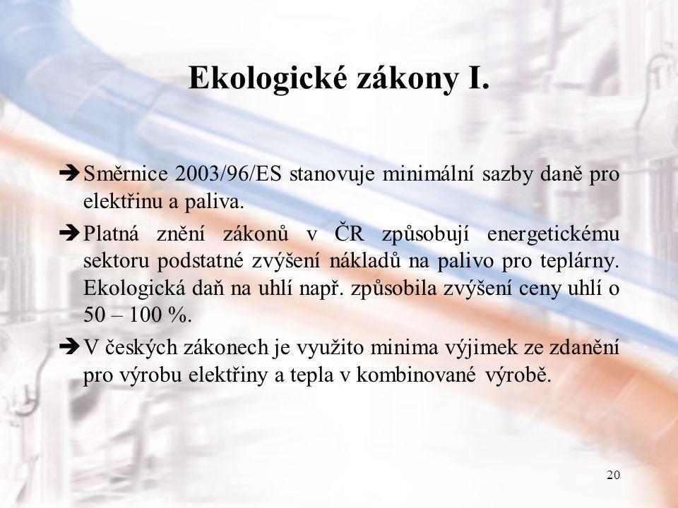 20 Ekologické zákony I.  Směrnice 2003/96/ES stanovuje minimální sazby daně pro elektřinu a paliva.  Platná znění zákonů v ČR způsobují energetickém