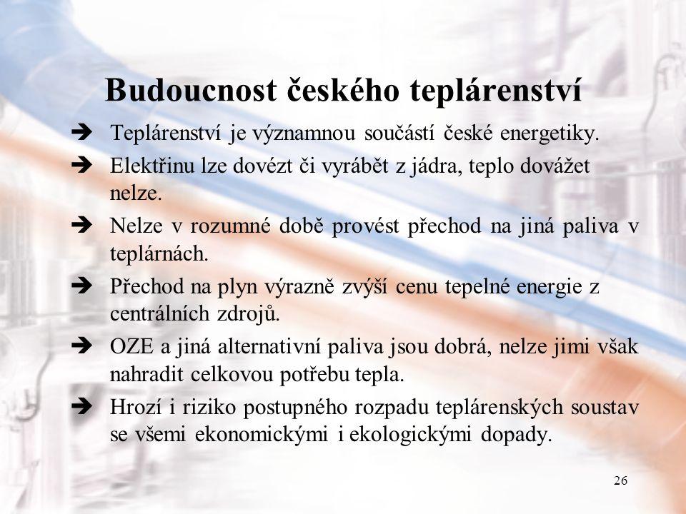26 Budoucnost českého teplárenství  Teplárenství je významnou součástí české energetiky.  Elektřinu lze dovézt či vyrábět z jádra, teplo dovážet nel