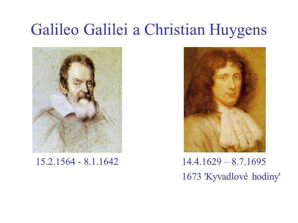 Galileo Galilei a Christian Huygens 15.2.1564 - 8.1.164214.4.1629 – 8.7.1695 1673 Kyvadlové hodiny