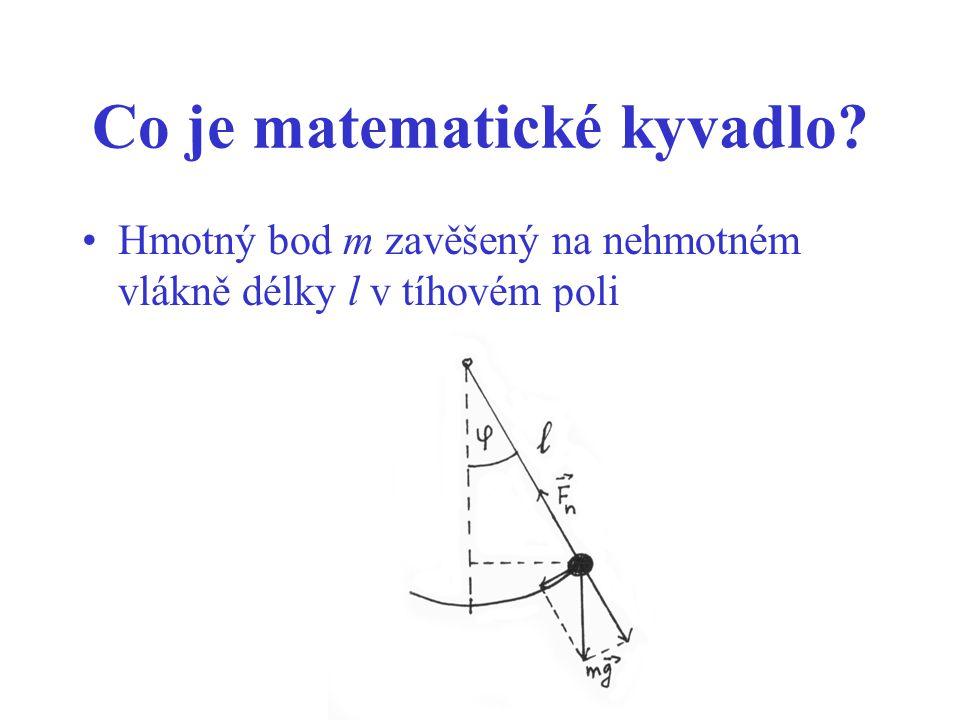 Co je matematické kyvadlo? Hmotný bod m zavěšený na nehmotném vlákně délky l v tíhovém poli