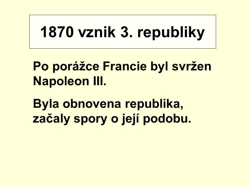 1870 vznik 3. republiky Po porážce Francie byl svržen Napoleon III. Byla obnovena republika, začaly spory o její podobu.