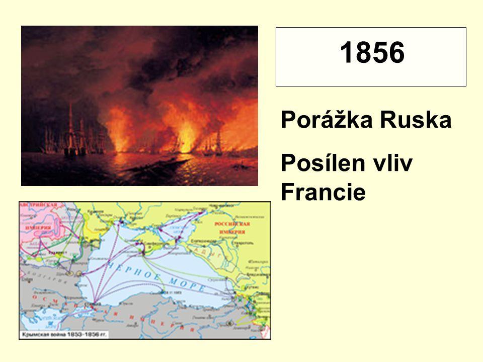 Porážka Ruska Posílen vliv Francie 1856
