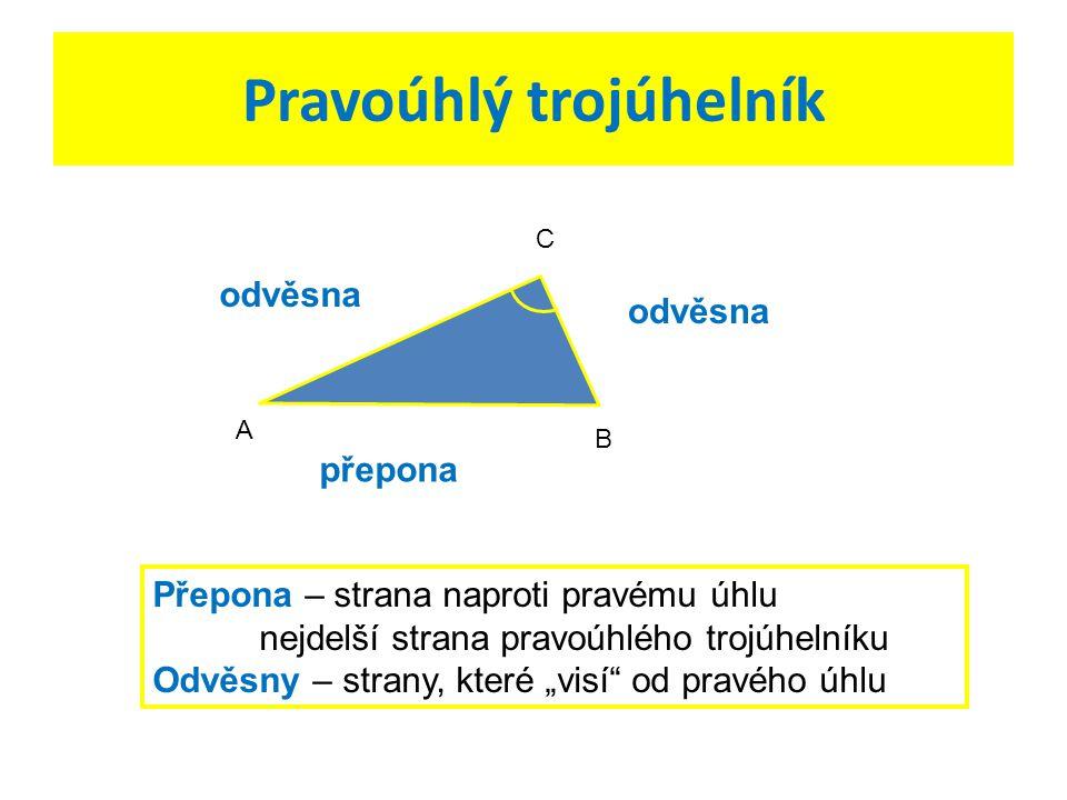 Označ u daných trojúhelníků odvěsny a přepony:
