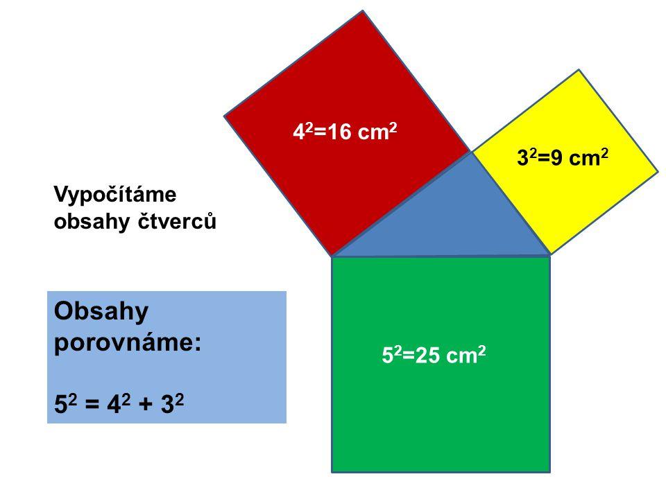 a2a2 b2b2 c2c2 A B C c ab Obsah čtverce sestrojeného nad přeponou pravoúhlého trojúhelníku se rovná součtu obsahů čtverců nad jeho odvěsnami c 2 = a 2 + b 2