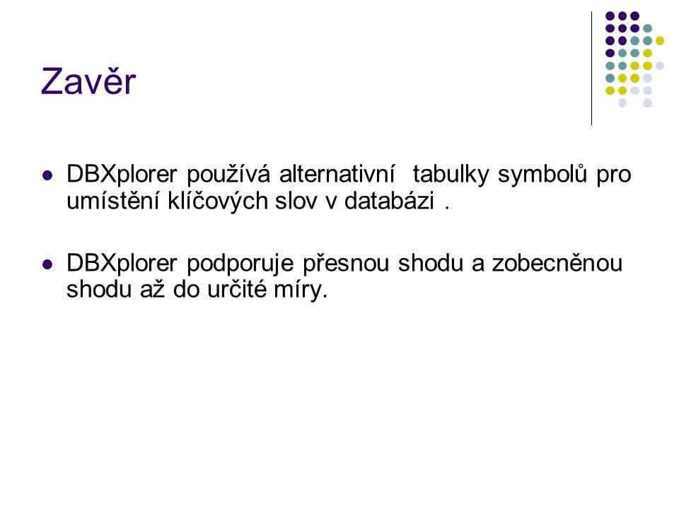 Zavěr DBXplorer používá alternativní tabulky symbolů pro umístění klíčových slov v databázi.