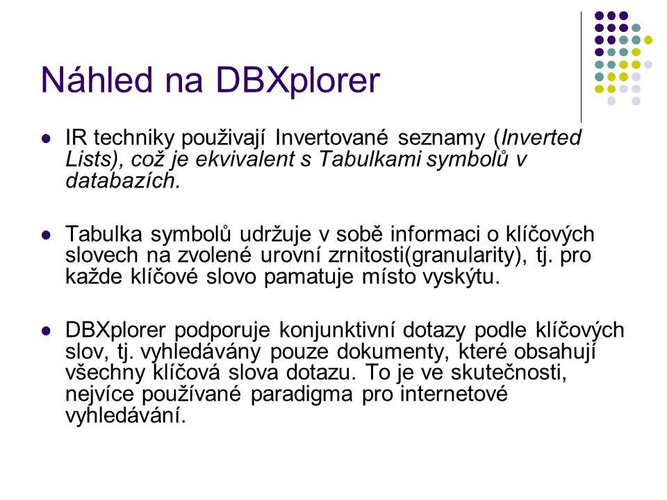 Náhled na DBXplorer IR techniky použivají Invertované seznamy (Inverted Lists), což je ekvivalent s Tabulkami symbolů v databazích.