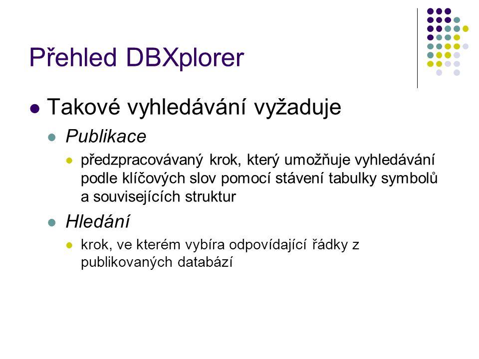 Přehled DBXplorer Takové vyhledávání vyžaduje Publikace předzpracovávaný krok, který umožňuje vyhledávání podle klíčových slov pomocí stávení tabulky symbolů a souvisejících struktur Hledání krok, ve kterém vybíra odpovídající řádky z publikovaných databází