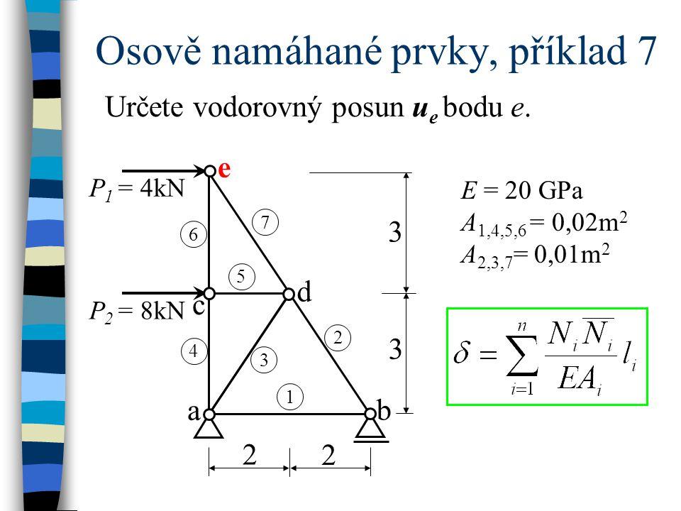 Osově namáhané prvky, příklad 7 Určete vodorovný posun u e bodu e. E = 20 GPa A 1,4,5,6 = 0,02m 2 A 2,3,7 = 0,01m 2 e P 1 = 4kN P 2 = 8kN a b c d 1 4