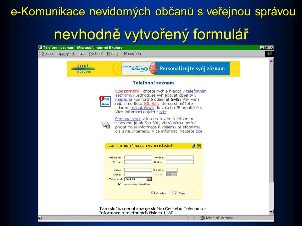Formuláře Příklad: Telefonní seznam na www.telecom.cz Nevhodné: Stránka je přístupná, ale při tomto způsobu tvorby formulářů je možné, že se nevidomý uživatel nedozví, jaké editační pole vlastně vyplňuje.