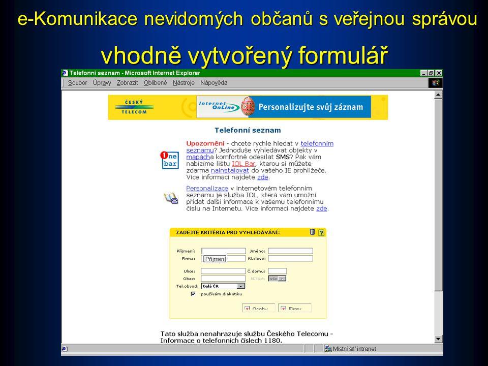 nevhodně vytvořený formulář e-Komunikace nevidomých občanů s veřejnou správou