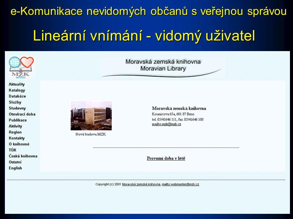 Lineární vnímání - vidomý uživatel e-Komunikace nevidomých občanů s veřejnou správou