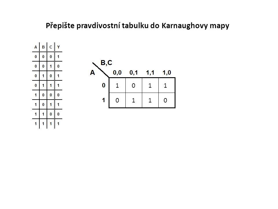 1011 0110 Přepište pravdivostní tabulku do Karnaughovy mapy