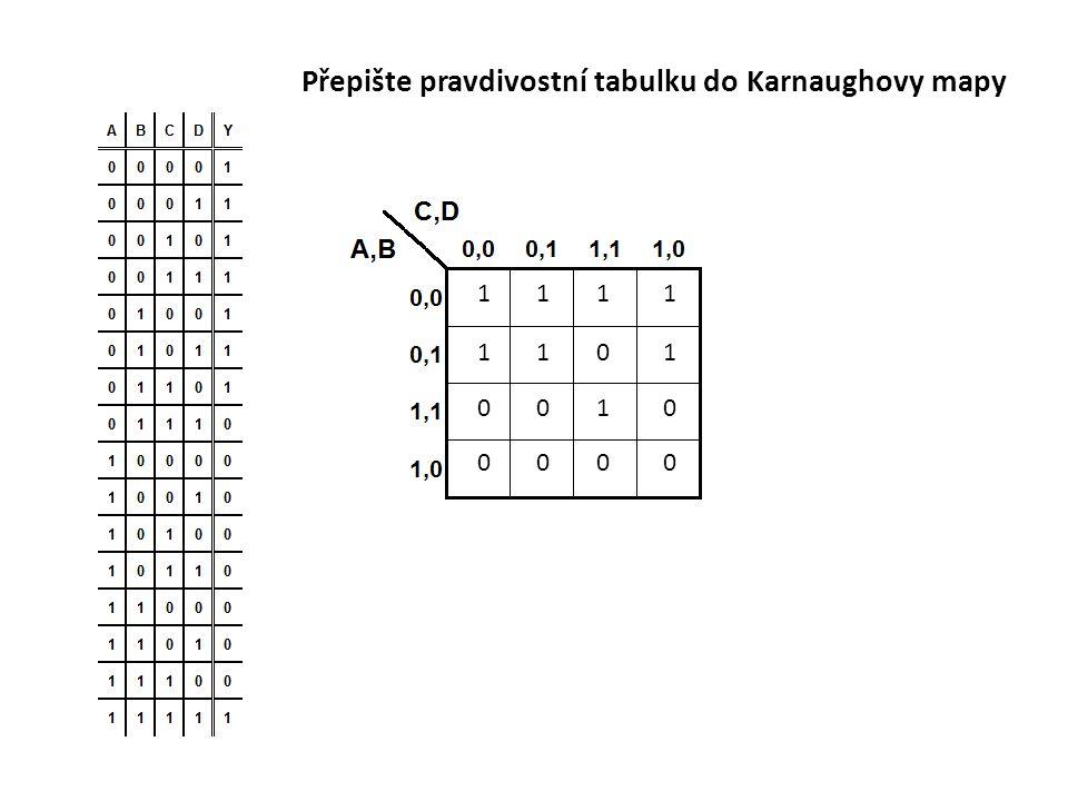 Přepište pravdivostní tabulku do Karnaughovy mapy 1111 1101 0010 0000