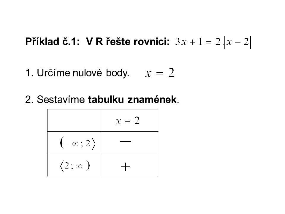 Příklad č.1: V R řešte rovnici: 1. Určíme nulové body. 2. Sestavíme tabulku znamének.