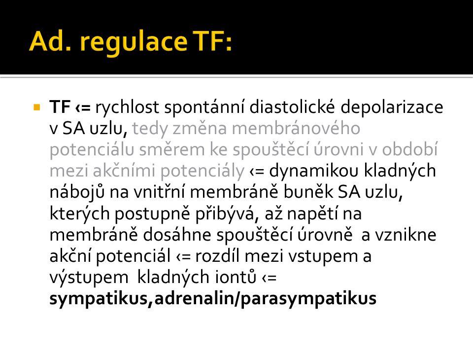  TF ‹= rychlost spontánní diastolické depolarizace v SA uzlu, tedy změna membránového potenciálu směrem ke spouštěcí úrovni v období mezi akčními potenciály ‹= dynamikou kladných nábojů na vnitřní membráně buněk SA uzlu, kterých postupně přibývá, až napětí na membráně dosáhne spouštěcí úrovně a vznikne akční potenciál ‹= rozdíl mezi vstupem a výstupem kladných iontů ‹= sympatikus,adrenalin/parasympatikus