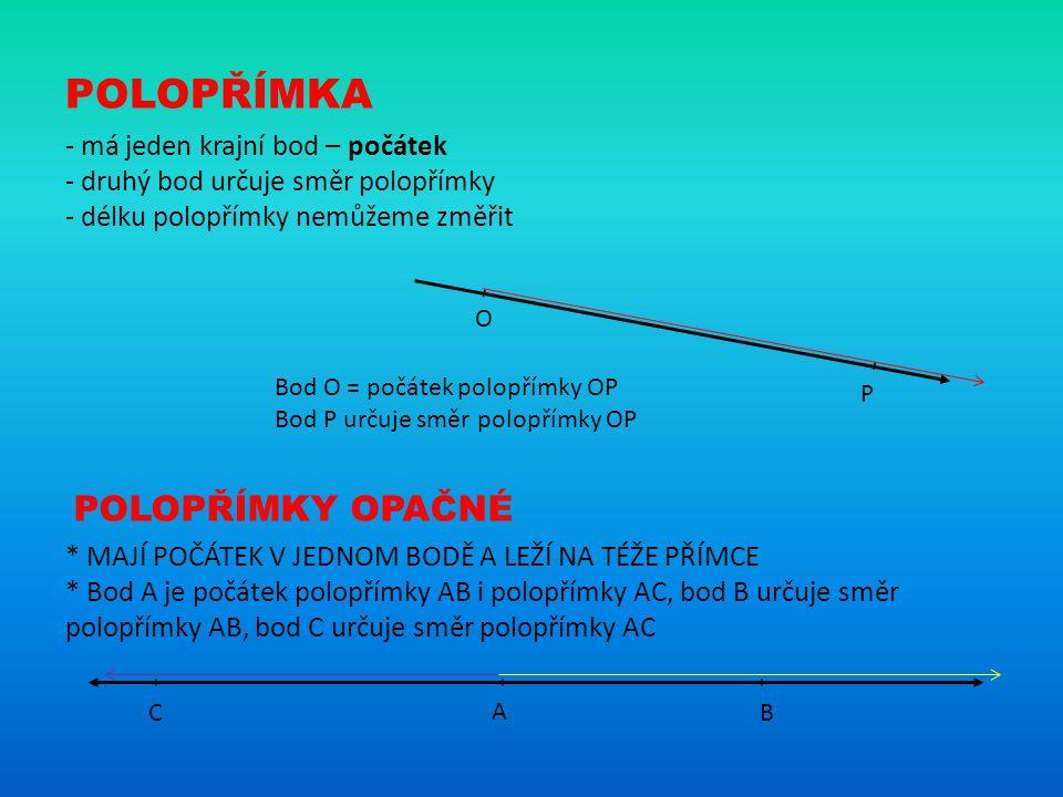 POLOPŘÍMKA - má jeden krajní bod – počátek - druhý bod určuje směr polopřímky - délku polopřímky nemůžeme změřit Bod O = počátek polopřímky OP Bod P u