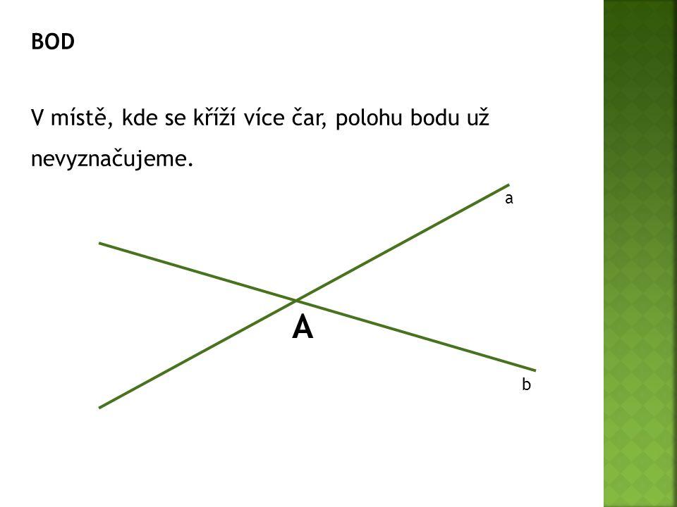 BOD V místě, kde se kříží více čar, polohu bodu už nevyznačujeme. a b A