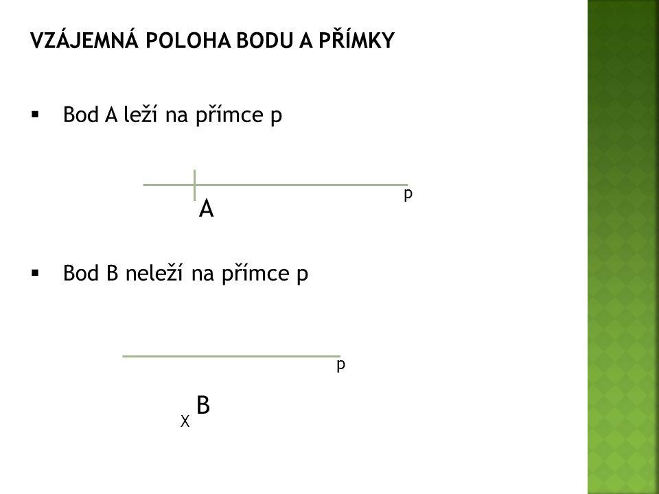 VZÁJEMNÁ POLOHA BODU A PŘÍMKY  Bod A leží na přímce p  Bod B neleží na přímce p p p A X B