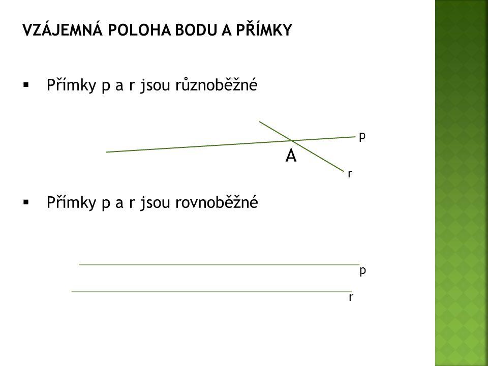 VZÁJEMNÁ POLOHA BODU A PŘÍMKY  Přímky p a r jsou různoběžné  Přímky p a r jsou rovnoběžné p p A r r