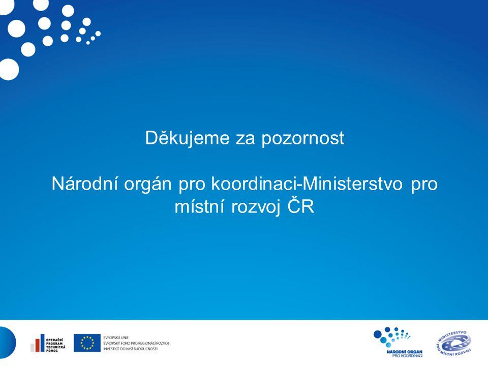 8 Děkujeme za pozornost Národní orgán pro koordinaci-Ministerstvo pro místní rozvoj ČR