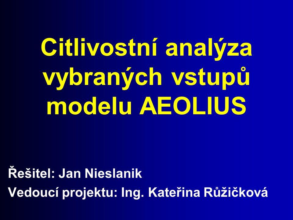 Citlivostní analýza vybraných vstupů modelu AEOLIUS Řešitel: Jan Nieslanik Vedoucí projektu: Ing. Kateřina Růžičková