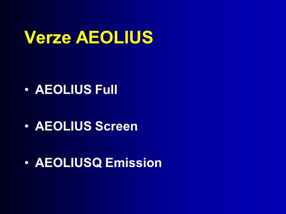 Verze AEOLIUS AEOLIUS Full AEOLIUS Screen AEOLIUSQ Emission
