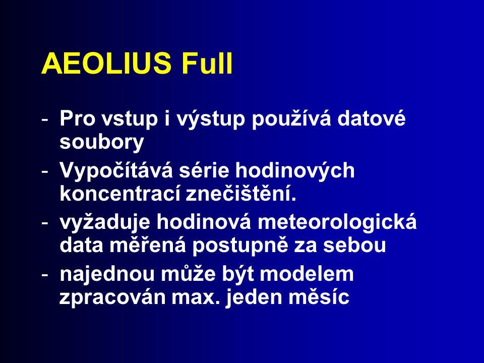AEOLIUS Full -Pro vstup i výstup používá datové soubory -Vypočítává série hodinových koncentrací znečištění. -vyžaduje hodinová meteorologická data mě