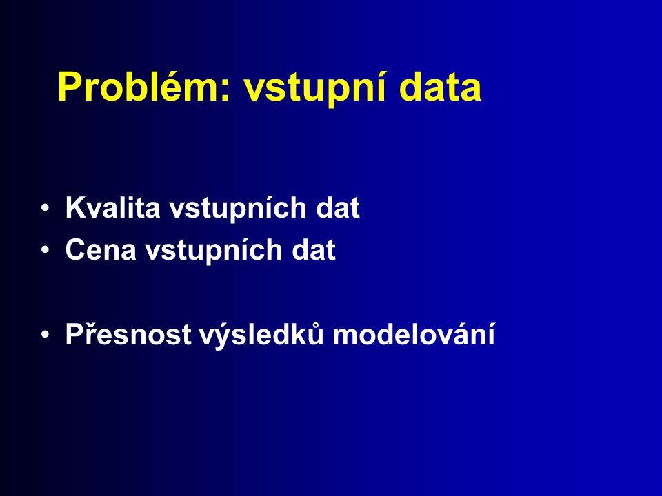 Problém: vstupní data Kvalita vstupních dat Cena vstupních dat Přesnost výsledků modelování