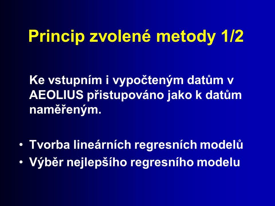 Princip zvolené metody 1/2 Ke vstupním i vypočteným datům v AEOLIUS přistupováno jako k datům naměřeným. Tvorba lineárních regresních modelů Výběr nej