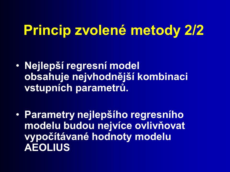 Princip zvolené metody 2/2 Nejlepší regresní model obsahuje nejvhodnější kombinaci vstupních parametrů. Parametry nejlepšího regresního modelu budou n