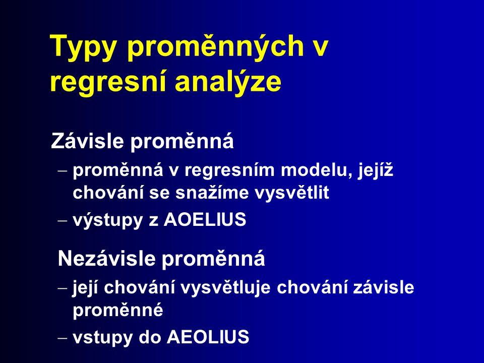 Typy proměnných v regresní analýze Závisle proměnná  proměnná v regresním modelu, jejíž chování se snažíme vysvětlit  výstupy z AOELIUS Nezávisle pr