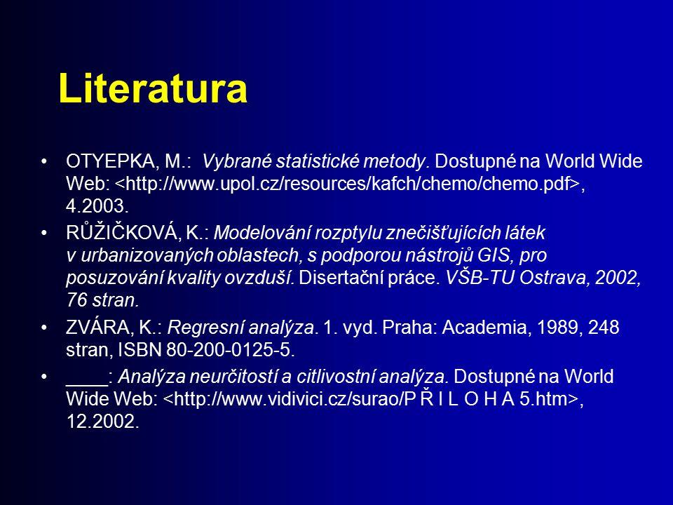 Literatura OTYEPKA, M.: Vybrané statistické metody. Dostupné na World Wide Web:, 4.2003. RŮŽIČKOVÁ, K.: Modelování rozptylu znečišťujících látek v urb