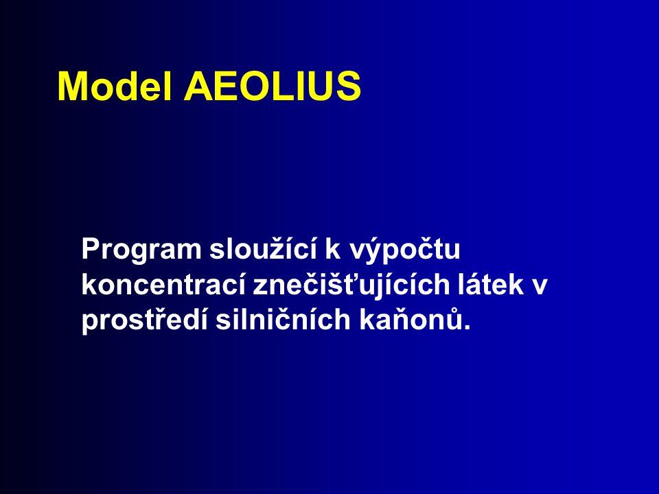 Model AEOLIUS Program sloužící k výpočtu koncentrací znečišťujících látek v prostředí silničních kaňonů.