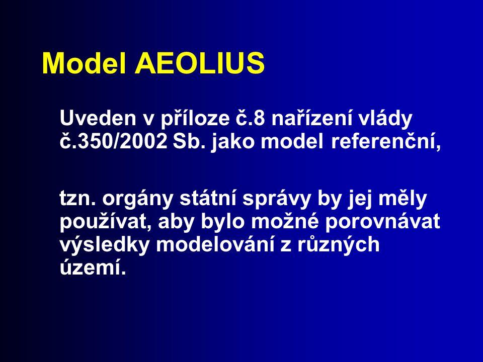 Model AEOLIUS Uveden v příloze č.8 nařízení vlády č.350/2002 Sb. jako model referenční, tzn. orgány státní správy by jej měly používat, aby bylo možné