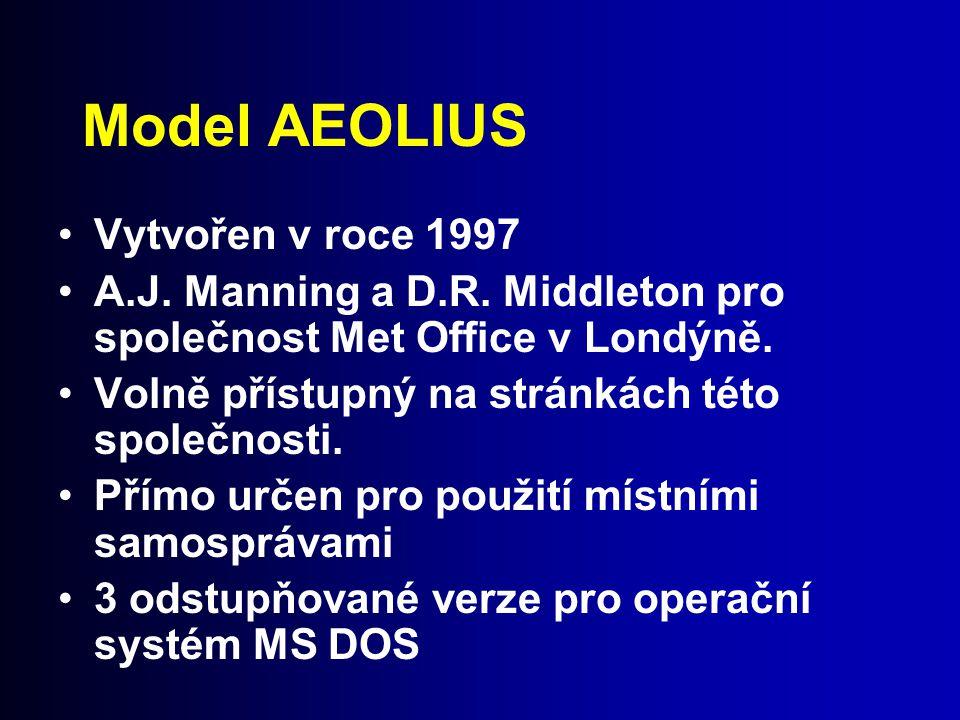 Model AEOLIUS Vytvořen v roce 1997 A.J. Manning a D.R. Middleton pro společnost Met Office v Londýně. Volně přístupný na stránkách této společnosti. P