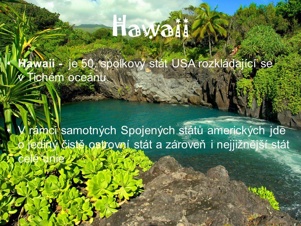 Hawaii Hawaii - je 50. spolkový stát USA rozkládající se v Tichém oceánu. V rámci samotných Spojených států amerických jde o jediný čistě ostrovní stá