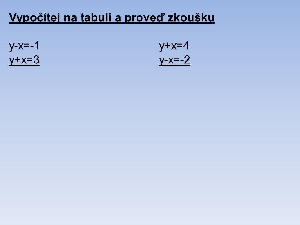 Vypočítej na tabuli a proveď zkoušku y-x=-1y+x=4 y+x=3y-x=-2