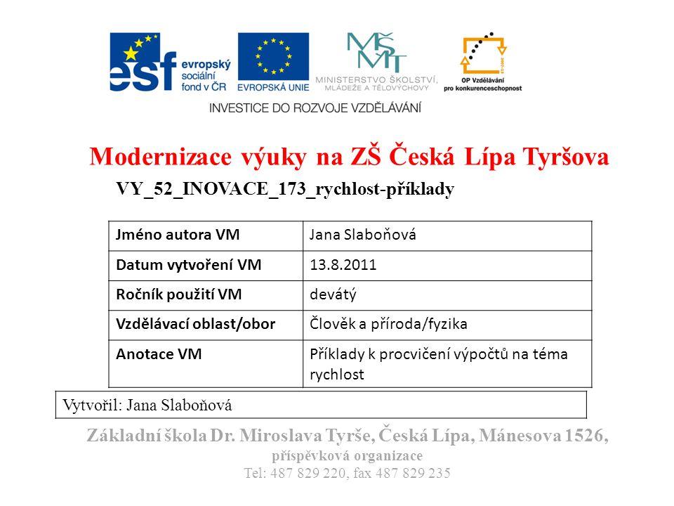 Modernizace výuky na ZŠ Česká Lípa Tyršova VY_52_INOVACE_173_rychlost-příklady Vytvořil: Jana Slaboňová Základní škola Dr. Miroslava Tyrše, Česká Lípa