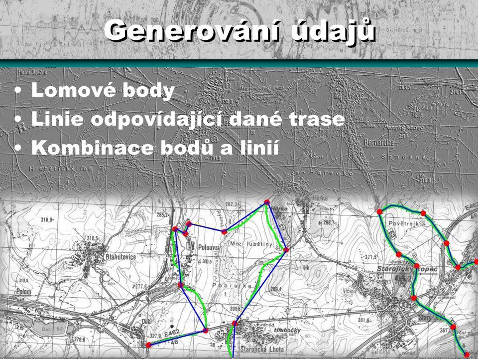Generování údajů Lomové body Linie odpovídající dané trase Kombinace bodů a linií