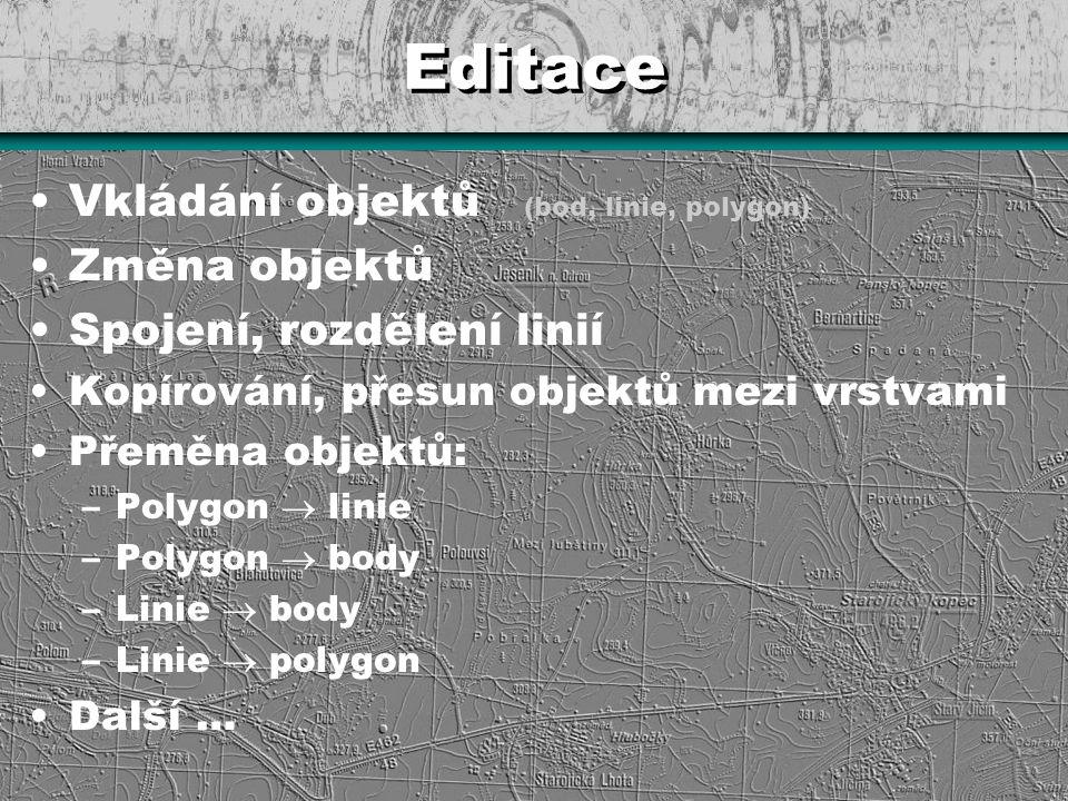 Editace Vkládání objektů (bod, linie, polygon) Změna objektů Spojení, rozdělení linií Kopírování, přesun objektů mezi vrstvami Přeměna objektů: –Polyg